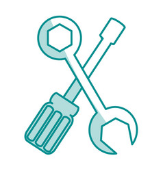 blue silhouette shading of set wrench and vector image