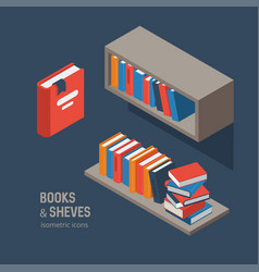 Book shelves isometric vector