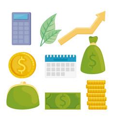 Bundle financial set icons vector