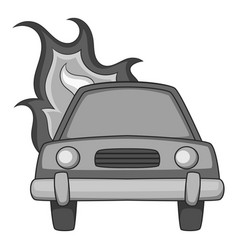 Burning car icon monochrome vector