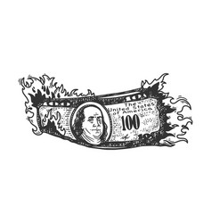 Burning dollars sketch vector