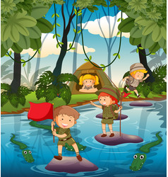 camping kids in the nature vector image