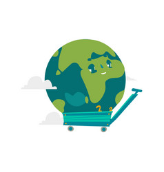 cartoon flat globe character in a cart vector image