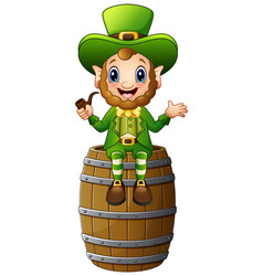 cartoon leprechaun sitting on barrel and holding a vector image