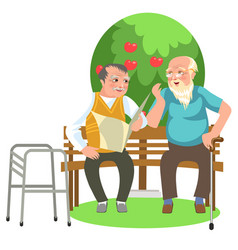 Cartoon two old mates talking in park and resting vector