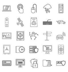 Change in technology icons set outline style vector