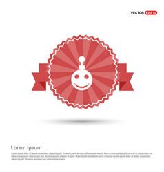 christmas ball icon - red ribbon banner vector image