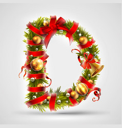 Christmas font letter d of christmas tree vector