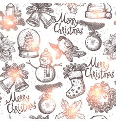 Christmas Sketch Seamless Pattern vector