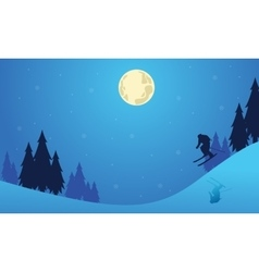 Christmas with people skier landscape vector