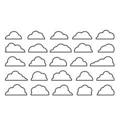 cloud black shapes weather thin line web icon set vector image