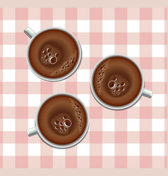 Coffee cups realistic three mugs on a vector