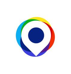 colorful pin location logo vector image