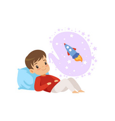 Cute boy lying on a pillow and dreaming about vector