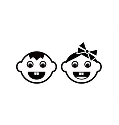 cute kids face icon vector image vector image