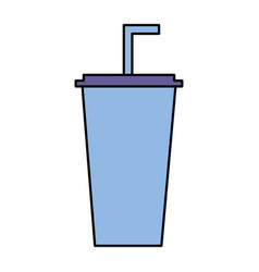 disposable cola cup with straw vector image