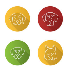 dogs breeds flat linear long shadow icons set vector image