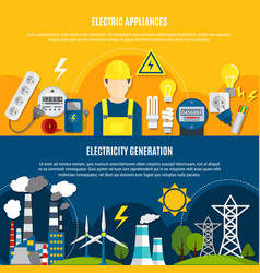 Electric appliances and power generation banners vector