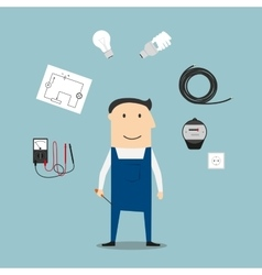 Electrician worker mwith devices and tools vector