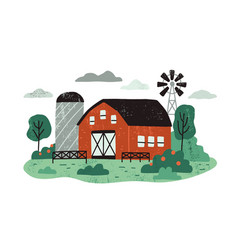 farm landscape with barn or hangar windmill vector image