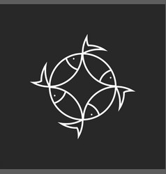 fish logo round design minimal style emblem for vector image
