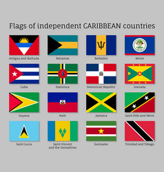 Flags independent caribbean countries vector