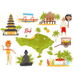 Flat set of balinese landmarks and cultural vector