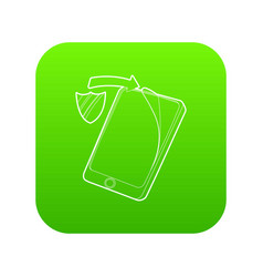 gadget with tempered glass protection icon green vector image
