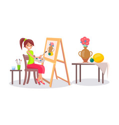 Girl drawing still life picture of vase and fruits vector