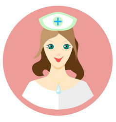Girl nurse icon in a flat style image on a vector