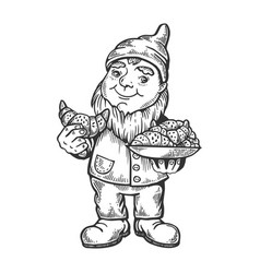gnome with croissant engraving vector image
