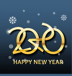 golden luxury text 2020 happy new year vector image