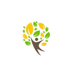 Green tree people happy ecology logo vector