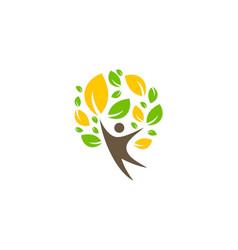 green tree people happy ecology logo vector image
