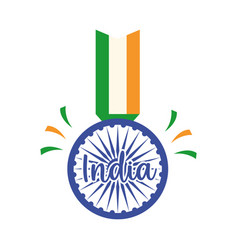 Happy independence day india flag pendant wheel vector