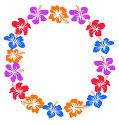 Hibiscus flowers circle with copy space vector