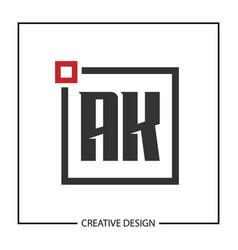 Initial letter ak logo template design vector