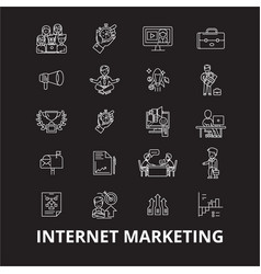 internet marketing editable line icons set vector image