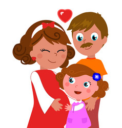 Isolated pregnant woman with daughter and husband vector