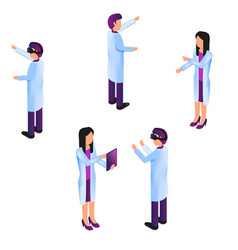 Isometric group doctor in process virtual reality vector