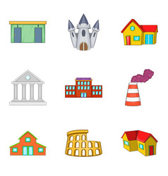 large building icons set cartoon style vector image