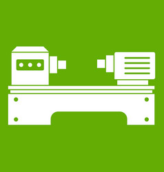 Lathe machine icon green vector