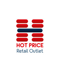 letter h icon for retail outlet center vector image