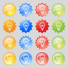 Light bulb icon sign Big set of 16 colorful modern vector image