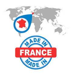 made in france stamp world map with red country vector image