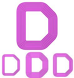 Magenta line d letter logo design set vector image