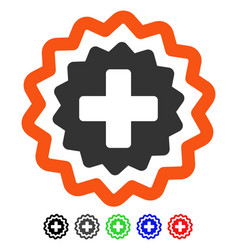 Medical cross stamp flat icon vector