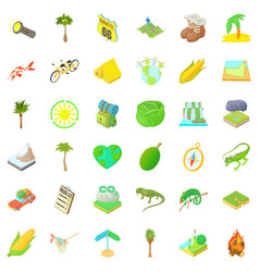 Nature rest icons set cartoon style vector
