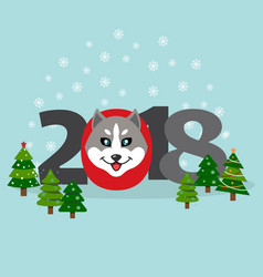 New year banner with an inscription 2018 a muzzle vector