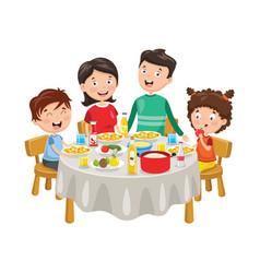 of family having dinner vector image
